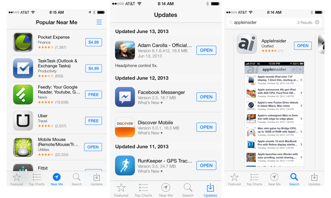 inside ios 7 apple 39 s new app store simplifies app updating discovery. Black Bedroom Furniture Sets. Home Design Ideas
