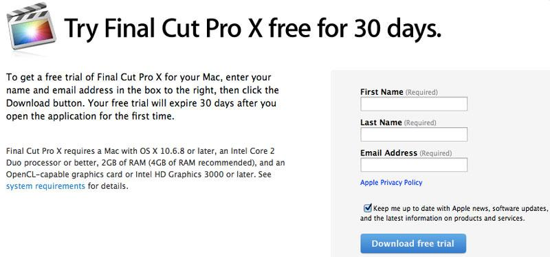how to get final cut pro free trial
