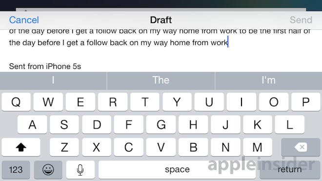 iPhone 5 landscape Mail UI