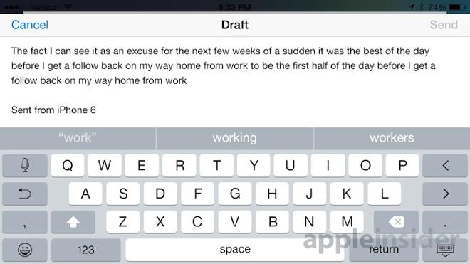 iPhone 6 landscape Mail UI