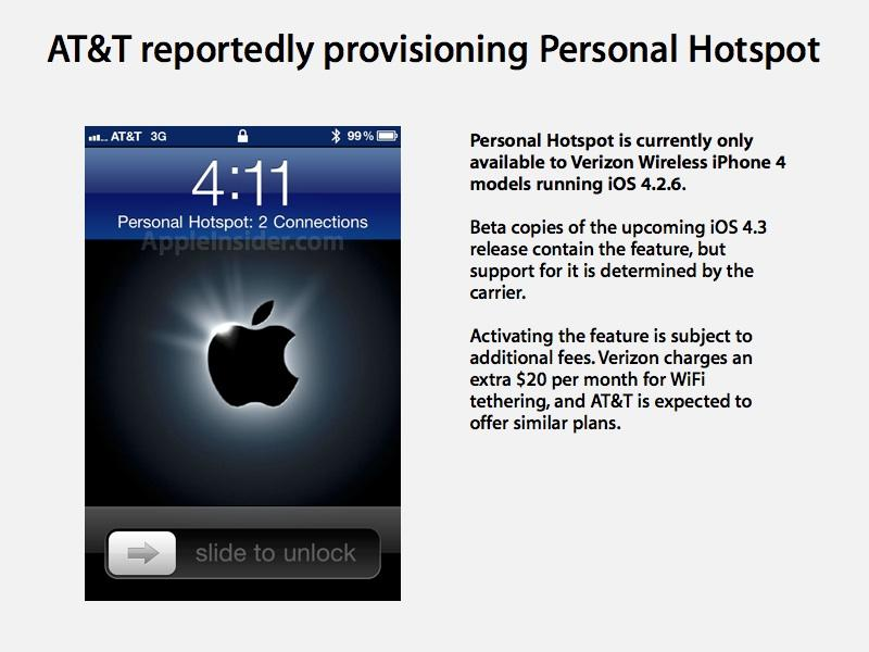 iphone hotspot verizon at amp t reportedly provisions ios 4 3 beta personal hotspot 11934