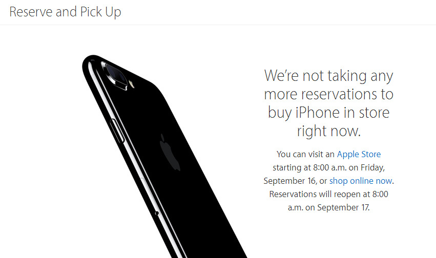what is the new iphone apple to reopen in iphone 7 reservations on sept 17 18214